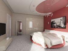 Натяжной потолок в спальне.